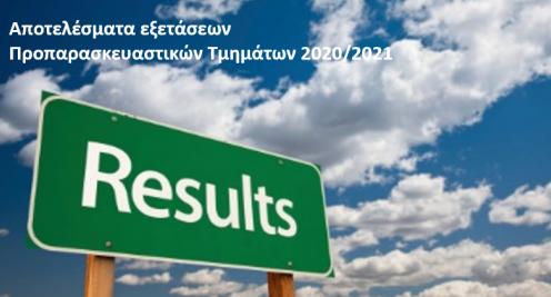 Αποτελέσματα εξετάσεων  Προπαρασκευαστικών Τμημάτων 2020/2021